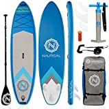 """EXTREMELY STABLE, RIGID Nautical by iROCKER INFLATABLE PADDLE BOARD: 10'6"""" Long x 32"""" Wide x 6"""" Thick- Board Weight 20 lbs.- Weight Limit of up to 240 lbs. The 32"""" width makes for extra stability while the sporty shape of the board still allows for a..."""