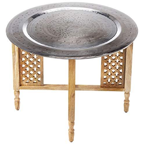 Marokkaanse ronde tafel salontafel Hania ø 60 cm rond | Oosterse woonkamertafel met inklapbaar vintage frame van hout in natuur | Het dienblad Deze klaptafel is gemaakt van metaal in zilver