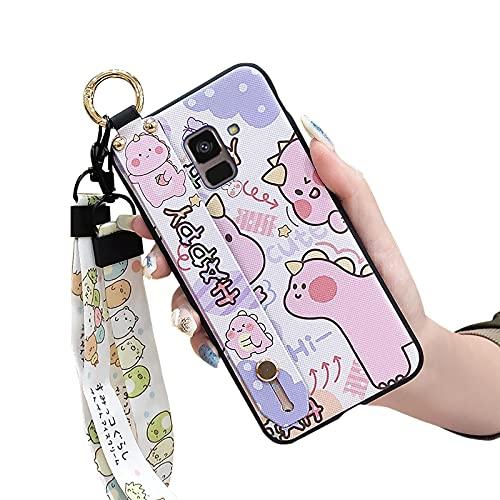 Cartoon Lulumi Phone Case Compatible with Samsung Galaxy A8 2018 A530F A5 2018, Original Cute Dirt-resistant Durable Holder Wrist Strap Wristband, Pink Dinosaur