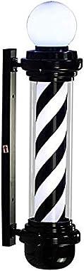 Barber Pole Enseigne Lumineuse pour Barbier Shop,Vintage Poteau De Coiffeur Salon LED Poteau De Barbier Signe Rayures Noires