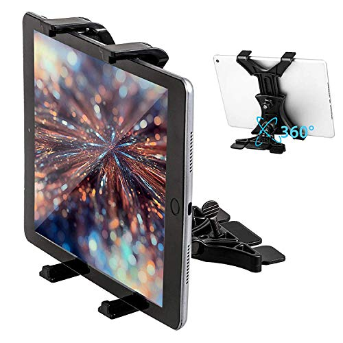 Linkstyle Car Tablet Holder CD Slot Tablet Mount Stand 360 Degree Ratation Fit iPad Most 7-11inch Devices