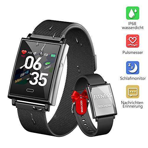 Dwfit Smartwatch, fitnesshorloge met hartslagmeter, slaapmonitor, waterdicht, fitnessarmband, sporthorloge met stappenteller, polshorloge, stopwatch, voor vrouwen en mannen, compatibel met iOS en Android, zwart