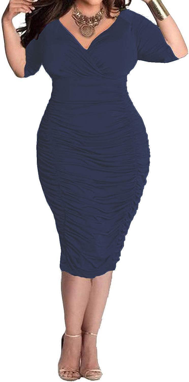 POSESHE Women's Plus Size Sexy Bodycon Party Dress Long Sleeve Midi Club Dresses