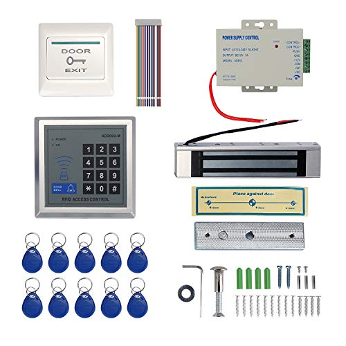 IMAGE Proximity RFID Card Access Control System Kit with 180kg 350LB Electric Magnetic Lock 110-240V AC to 12v DC 3A 36w Power Supply Proximity Door Entry Keypad 10 Key Fobs EXIT Button