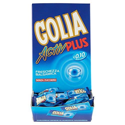 Golia Activ Plus Caramelle al Gusto Menta, Caramelle Balsamiche al Mentolo e Eucaliptolo, Formato Monopezzo, Box da 180 pezzi Incartati Singolarmente
