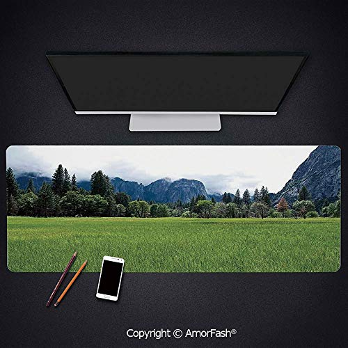 Large Mouse pad with Premium-Textured Cloth,Non-Slip Rubber Base,35.5'x15.8',Yosemite,Lushgreen Meadow in Yosemite Valley with Trees Forest Mountain Cloudy Day Photo,Green Grey