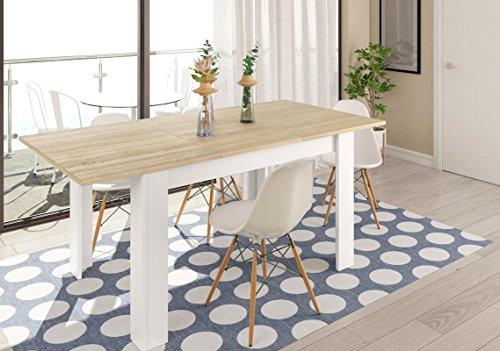 SERMAHOME- Mesa de Comedor Extensible Modelo Practice. Color Blanco Ártico/Roble. Medidas: 90x140-190 cm.