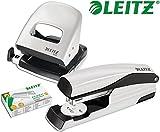 Leitz 5008 NeXXt Series Bürolocher, Metall, bis zu 30 Blatt / Kombi-Set mit Heftgerät + 1000 Klammern extra (grau)