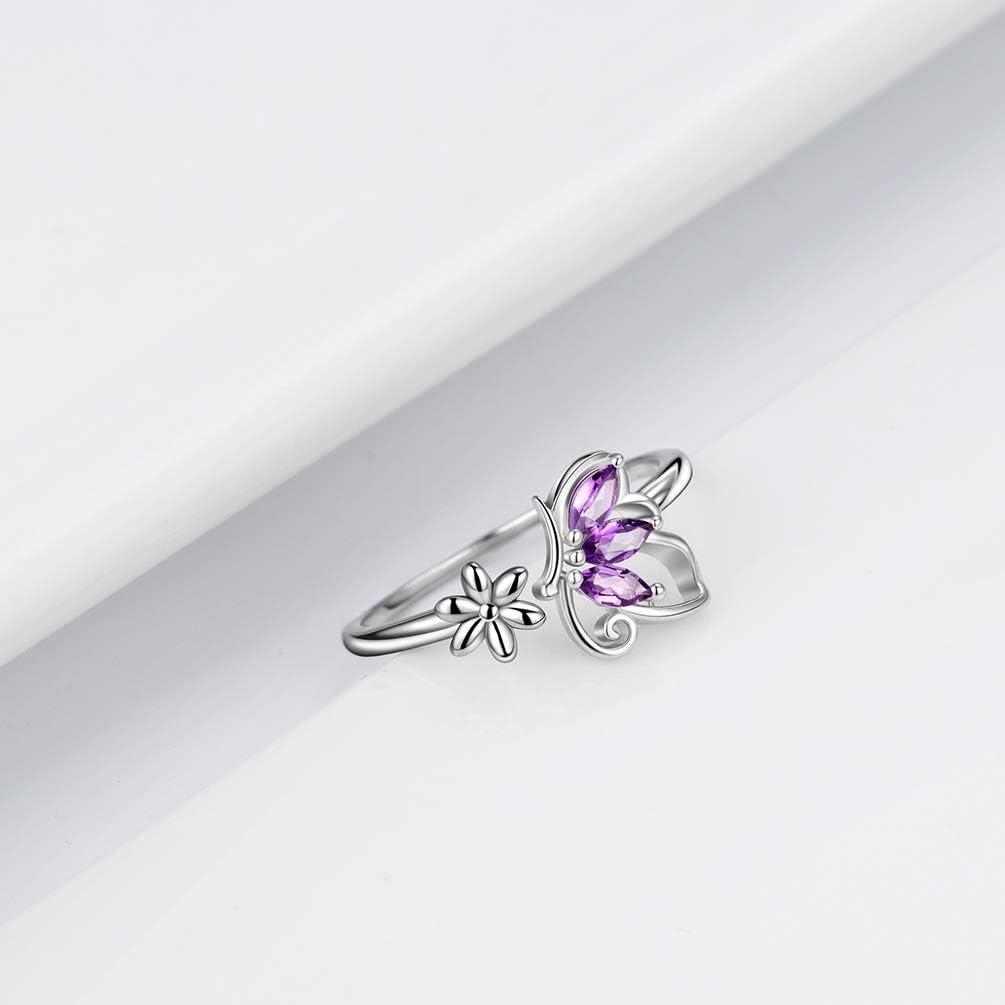 Aurora Tears Bijoux Femme Bague Papillon Bague en Argent Sterling 925 Ouverture R/églable Anneaux Zircone Cubique Gfits DR0074