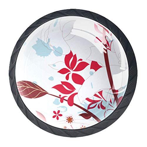 Schubladengriffe für die Küche, Kommode, Organizer mit DIY-Ziehgriffen, Chinesischer Stil Rote Blumen, 3.5×2.8CM/1.38×1.10IN