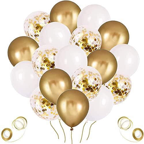 Palloncini Oro, 60 Pezzi Palloncini Dorati, Palloncini Coriandoli Oro, Palloncini Dorati e Bianchi per Compleanno, Matrimonio Anniversario,Battesimo, Prima Comunione (Oro)