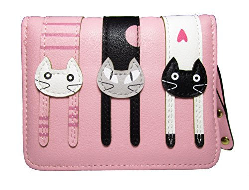 Nawoshow Women Cute Cat Wallet Coin Purse Bifold Wallet Clutch Bag(Pink)