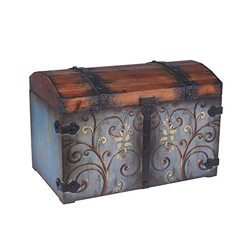 Household Essentials Vintage Wood Storage Trunk, Large, Blue Body/Brown Lid/Floral Design