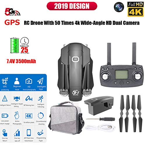 CSJ-X8 5G WiFi FPV GPS with 4K HD Camera Brushless Foldable RC Drone Quadcopter (Black)