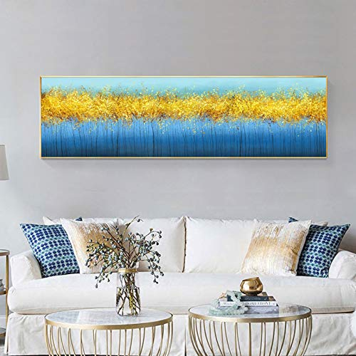 QWESFX Moderne abstrakte Kunst Poster und Drucke Wandkunst Leinwand Malerei Goldene Bäume Wandkunst Bilder für Wohnzimmer Cuadros Dekor B 40x80cm