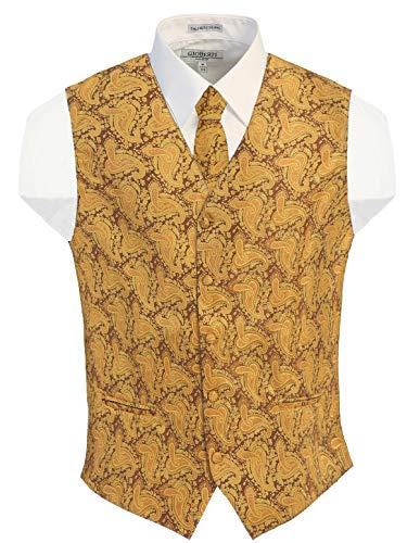 Gioberti Herren Formal 4 Stück Paisley Weste Krawatte Fliege und Einstecktuch - Gold - 4XL