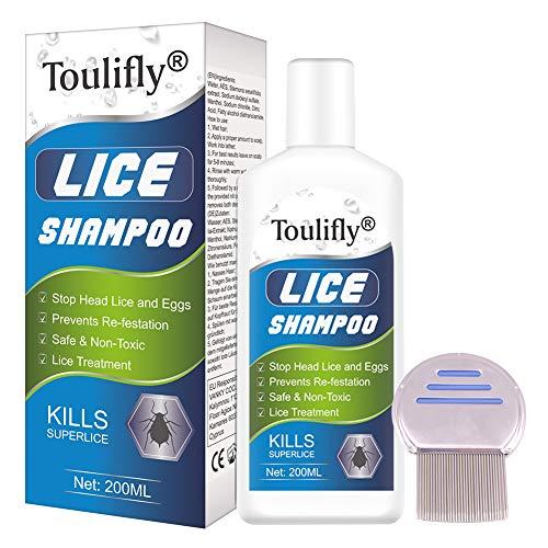 Shampoing Anti Poux, Anti-Poux, Traitement anti poux, Anti-Pelliculaire Prévient les Poux, Soulager les démangeaisons du cuir chevel, Peigne métallique GRATUIT