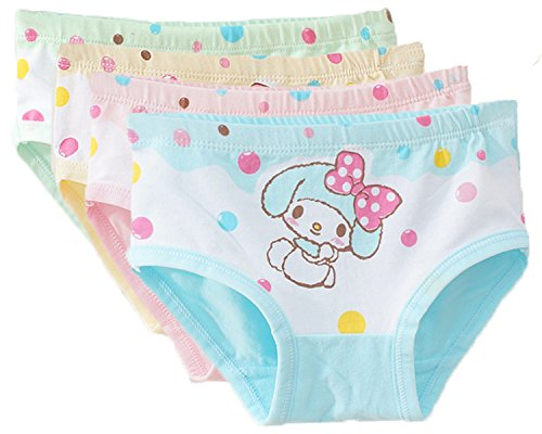 FAIRYRAIN FAIRYRAIN 4 Packung Baby Kleinkind Mädchen Bowknot Kaninchen Pantys Hipster Shorts Spitze Baumwollunterhosen Unterwäsche 2-4 Jahre