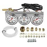 2 Inch 52mm Oil Pressure Water Temp Amp Meter Triple Gauge 3 in 1 Set Chrome Panel Oil Temp Water Temp Gauge Temperature Oil Pressure Gauge Sensor Car Meter Auto Gauge