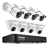 ZOSI 1080p HD-TVI Home Surveillance Camera System,8 Channel CCTV DVR Recorder (No Hard Drive) and (8) 2.0MP 1920TVL Outdoor/Indoor Surveillance Bullet Dome Cameras,Remote Access,Motion Detection