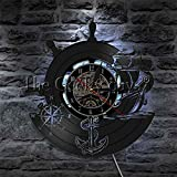 GODYS Barco de Ancla Brújula Naval Luz LED Disco de Vinilo Reloj de Pared Marineros 3D Deco Aplique de Pared LED Lámpara de Pared de Marineros