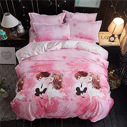 NGLSLL Bettwäsche, Heimtextilien Grau Bettwäsche Sterne Bettbezug Set Bedruckte BettlakenBettbezugKissenbezug Italien Bettbezug grau Punkte Bettwäsche Set, Pink Love, Full