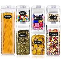 hbsite contenitori alimentari per pasta, plastica contenitore per alimenti ermetico, barattoli per conservazione cibi per pasta, spaghetti, farina, set di 7