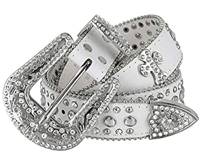 "Women Rhinestone Belt Fashion Western Cowgirl Bling Studded Design Cross Concho Leather Belt 1-1/2""(38mm) wide (White, 36'' L)"