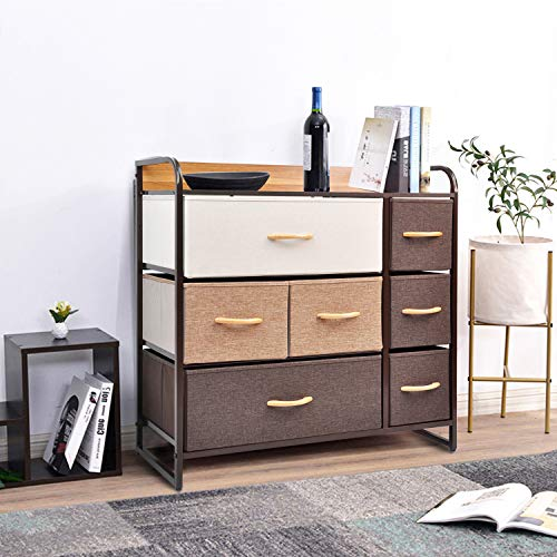 CERBIOR Drawer Dresser Closet Storage Organizer 7-Drawer Closet Shelves, Sturdy Steel Frame Wood Top with Easy Pull Fabric Bins for Clothing, Blankets - Mixture