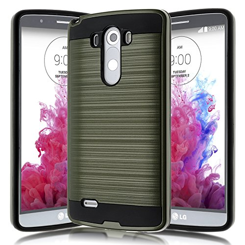 LG G3 Case,Kmall [Brushed Metal Texture] Heavy Duty Shockproof High Impact Resistant Durable Full Body [Maximum Drop Protection][Slim Fit] Hybrid Case Skin Cover Shell for LG G3[Green]
