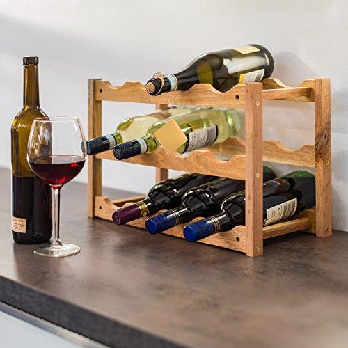 Relaxdays Casier à vin Range Bouteilles Horizontal 3 étages de 4 Bouteilles pour 12 Bouteilles en Bois étagère à Bouteilles de vin Dimensions 28 x 42,5 x 21 cm Porte-Bouteilles Bois de Noyer, Nature