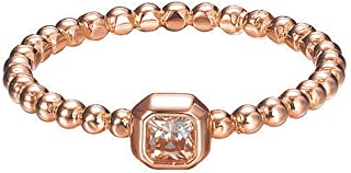 Esprit 思捷女式 925 纯银戒指,镀铑锆石,黄色,长方形切割