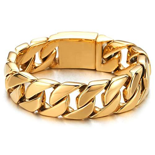 COOLSTEELANDBEYOND Große 22CM Maskulinen Stil Edelstahl Goldfarben Panzerkette Herren Armband