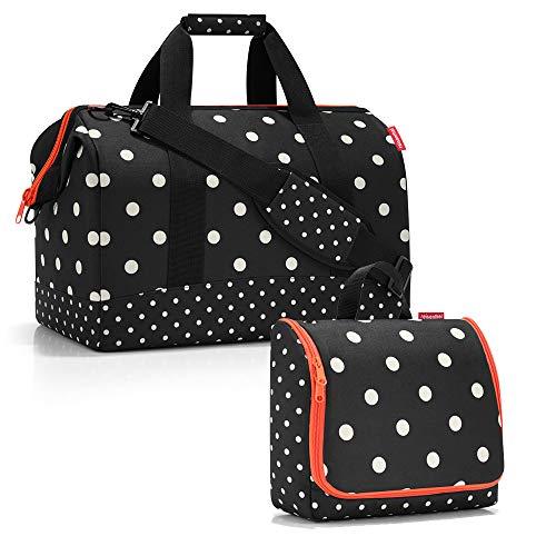 reisenthel - Set di borse da viaggio factotum, composto da un borsone di taglia L e una trousse da bagno di taglia XL Nero Pois misti L, XL