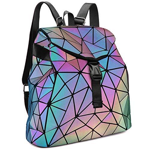 Tikea Geometrische Leuchtende Rucksack Fashion Kunstleder Daypack Holographic Rucksackhandtasche Schultasche Luminous Reisetasche für Frauen Mädchen Leuchtend