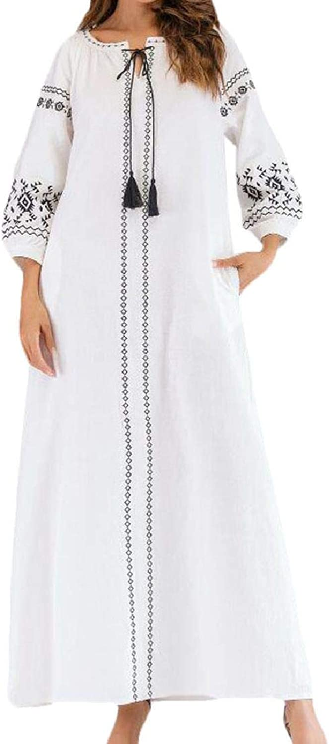 Nanquan Women Long Sleeve Muslim Cotton Linen Embroidery Abaya V Neck Long Dress