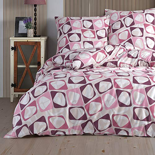 Ropa de cama 135 x 200 cm Deluxe 4 piezas 100% algodón Renforce cremallera juego de ropa de cama fundas y fundas de almohada tamaño estándar, diseño de puntos rosa y amarillo