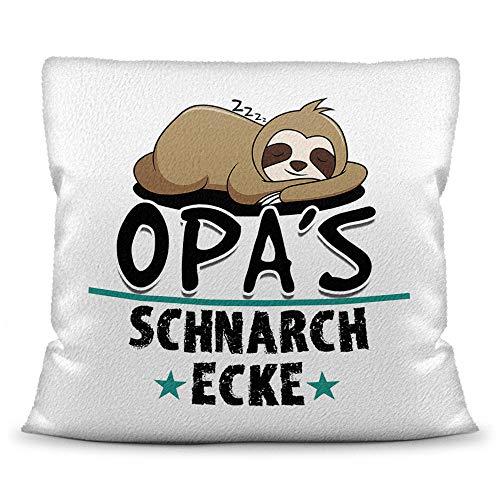Print Royal Kuschel-Kissen inkl. Füllung mit Spruch für Opa - Opas Schnarch-Ecke - Geschenk-Idee Geburtstag Vatertag/Bestes Vatertagsgeschenk - Kissen Weiß - flauschig