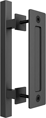 """high quality SMARTSTANDARD discount Heavy Duty 12"""" Pull and Flush Barn Door Handle Set, Large Rustic Two-Side Design, for Gates Garages Sheds Furniture, Black Powder discount Coated Finish, Square sale"""
