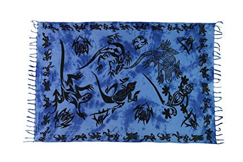 Ciffre Sarong Pareo Wickelrock Lunghi Dhoti Tuch Strandtuch Tribal Gecko Dunkel Blau + Schnalle