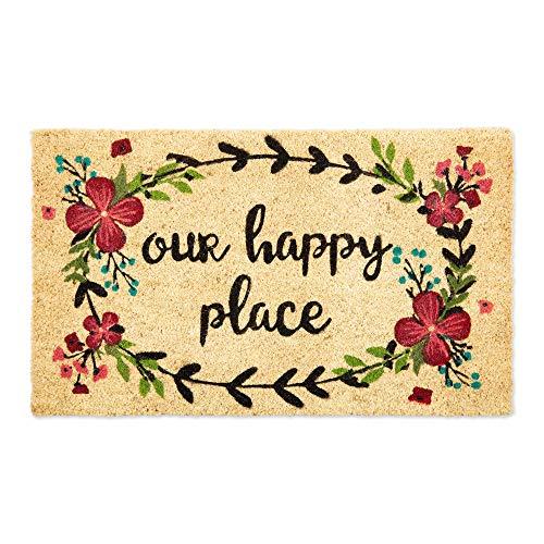 DII Fun Greetings Home Decor Felpudo de Fibra de Coco Natural, 18 x 30, Our Happy Place