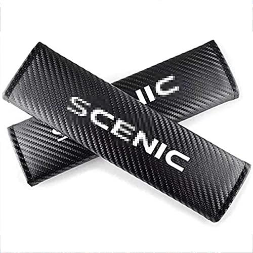 2 Piezas Almohadilla Cinturon Coche para Renault Scenic, Fibra de Carbono Almohadillas...