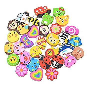 Dreamm Animal Pencil Top Eraser in Bulk 50 Pcs,Colorful Animal Flowers Transportation Assortment,Suitable for Children Students Lovely Stationery Gift Prizes