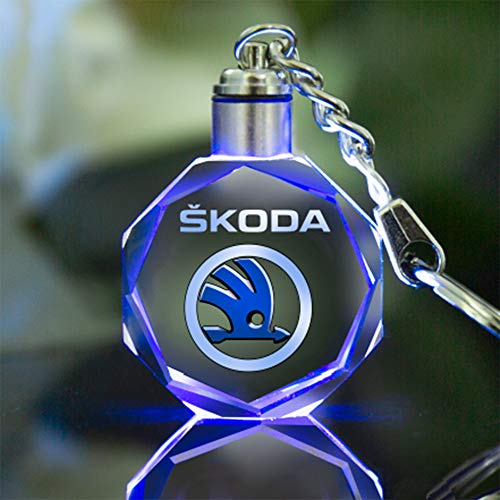 VILLSION LED Schlüsselanhänger Auto Logo Key Chain Mehrfarbig Kristall Licht Umfassen Geschenkbox