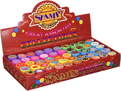 Tiny Mills 50 Pcs Assorted Stampers for Kids - Birthday Party Favors