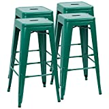 Furmax 30 Inches Metal Bar Stools High Backless Stools Indoor Outdoor Stackable Kitchen Stools Set of 4 (Green)