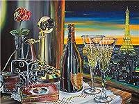 """番号でペイント テーブルの上のワイン 3つの絵筆で絵筆を描く子供初心者大人のためのDIY油絵キット–家の壁の装飾のための16""""W x 20"""" Lフレームレス"""