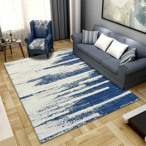 IRCATH Blue Stitch Gradient Color Moderno patrón Art Anti-Fading Resistente al Desgaste Sala de Estar de la Cama Área de Corredor de la Cama Alfombra-140x200cm Alfombras Dormitorio Modernas Lavables