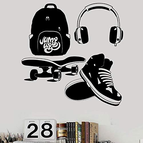 ASFGA Street Shooting Streetstyle Aufkleber Jugend Kinderzimmer Kopfhörer Rollschuh Vinyl Kunst Wandaufkleber Wohnzimmer Schlafzimmer Kopfhörer lustige Club 41x42cm