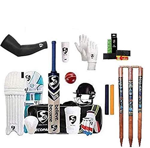 SG Full Cricket Kit for (Senior) + Legguard + Batting Gloves + Kitbag + Thigh Guard + Arm Guard + Abdo Guard A Complete Economy Cricket kit for Batsmen with Wooden Wicket Stumps